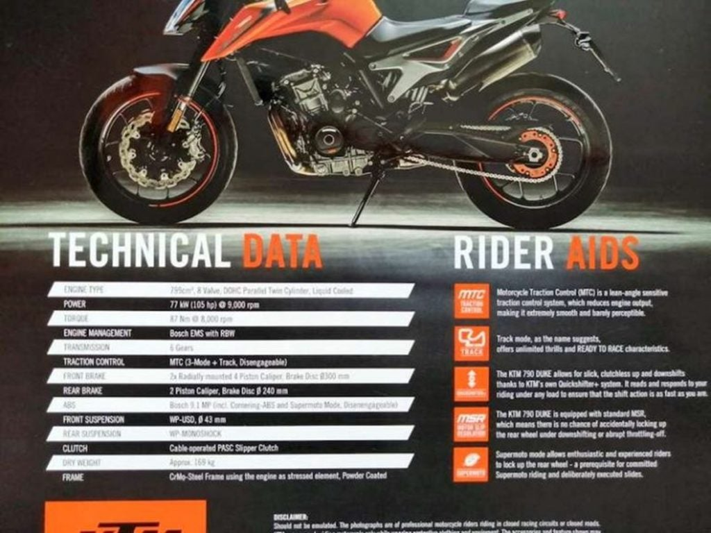 India-spec KTM Duke 790 brochure leaked; specs revealed