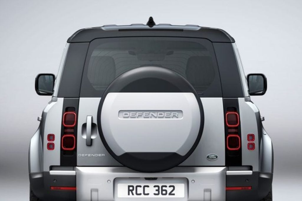 Rear Profile of the new Land Rover Defender