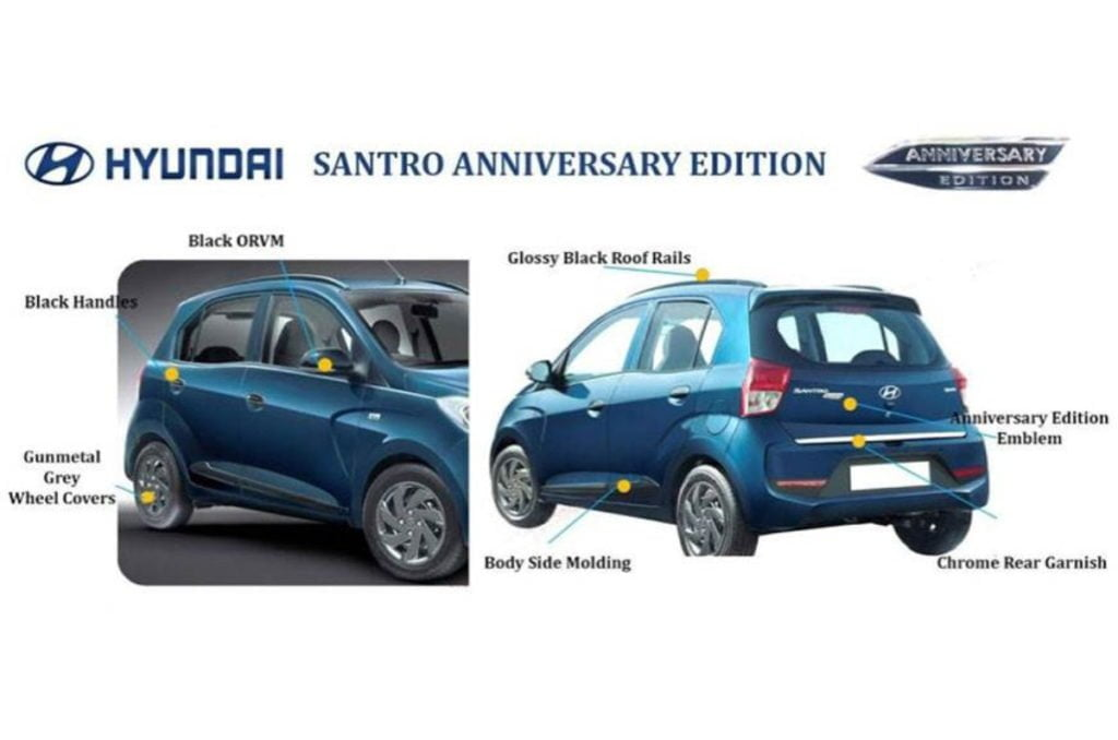 Hyundai has introduced the Santro Anniversary Edition for a price of Rs. 5.17 lakh