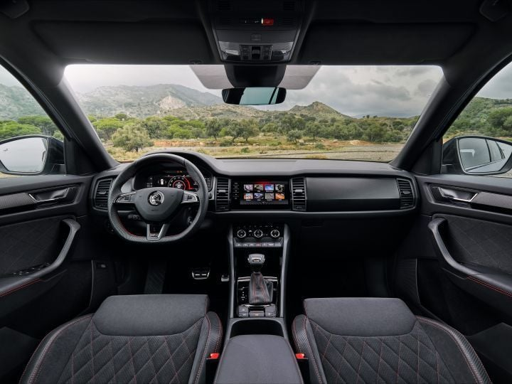 The interiors get an all-black treatment in the Kodiaq RS.