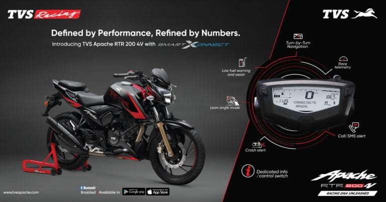 TVS Apache RTR 200 4V With Bluetooth Speedometer Launched
