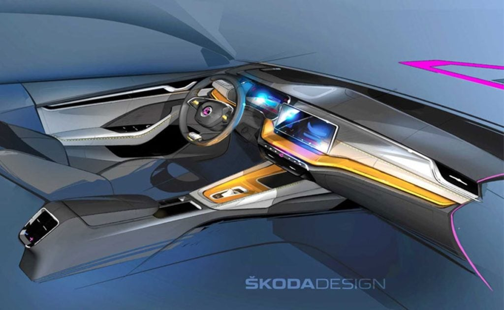 Skoda teases us with a sketch image of the 2020 Octavia interiors.