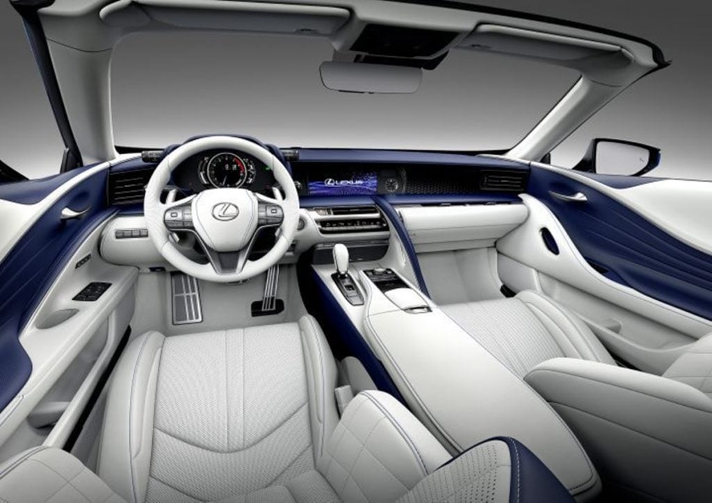 The white and blue interiors is limited to just 100 units in the LC 500 Convertible Inspiration Series