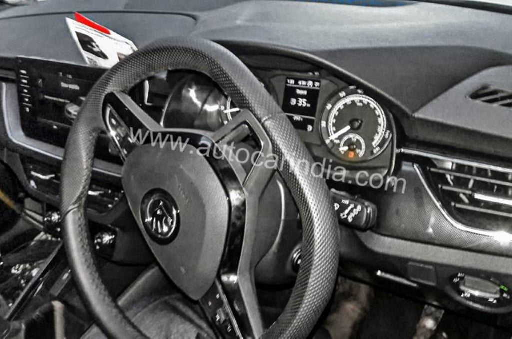 Skoda Kamiq interiors as spotted in the test mule