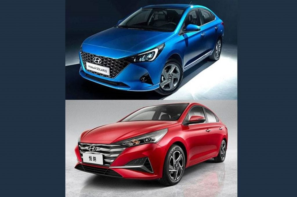 China-spec Verna vs Russian-spec Solaris (front)