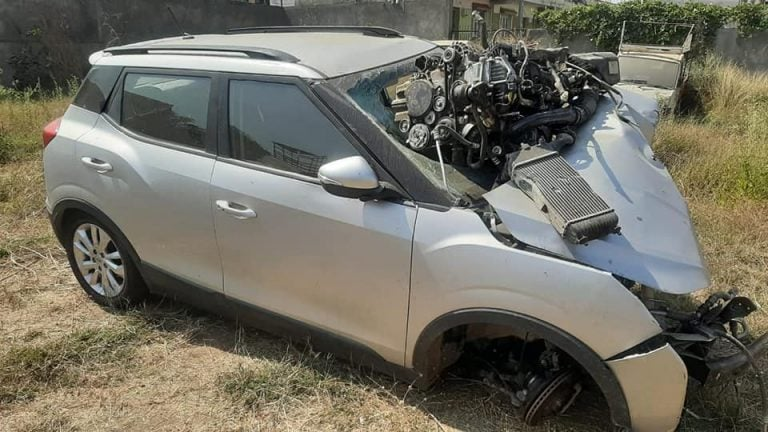 What Happens To Mahindra XUV300 In A Major Frontal Accident- Photos