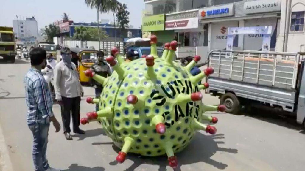 Voici une voiture en forme de coronavirus en Inde essayant de sensibiliser