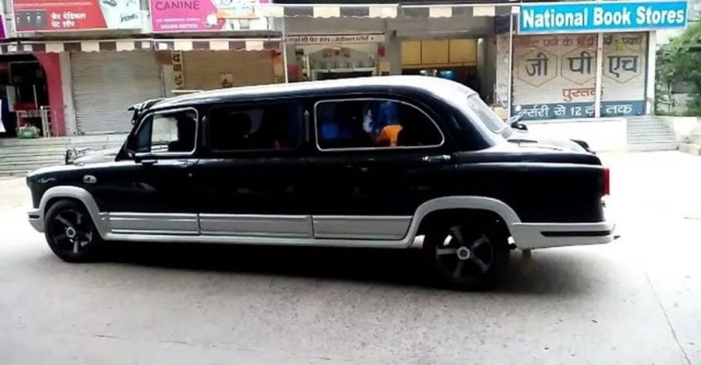 This Hindustan Ambassador has been modified into a limousine