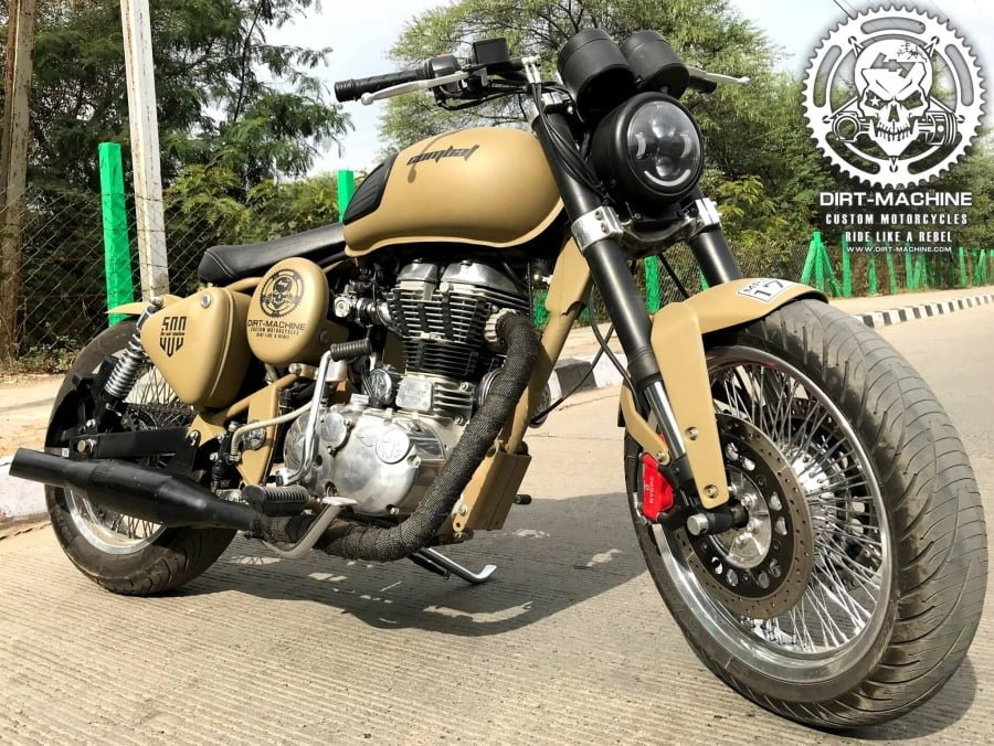 This motorcycle started life as a Royal Enfield Classic 500 Desert Storm variant.