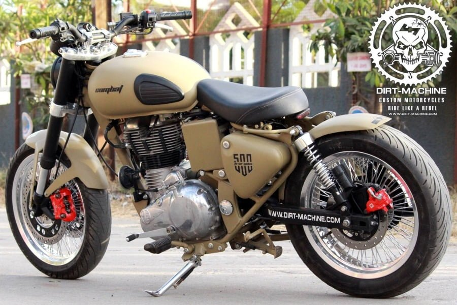 This Royal Enfield is called the Classic Combat and it has been modified by Dirt Machine Custom Motorcycles from Indore.
