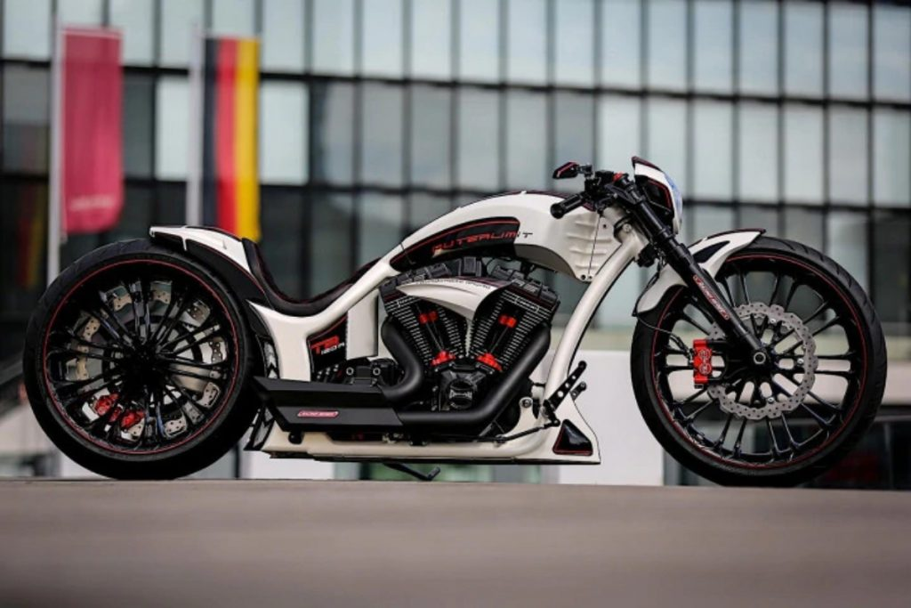 It's called the Harley Davidson Outerlimit and has been built by a chop-shop called Thunderbike.
