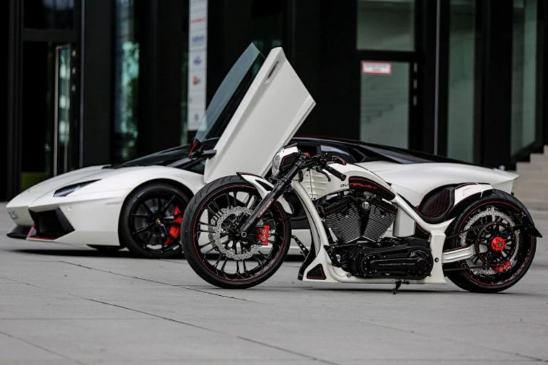 This Harley Davidson Is Custom Built to Match the Lamborghini Aventador of the Owner!