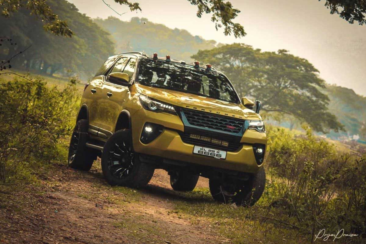 this modified toyota fortuner is called the yellow ghost