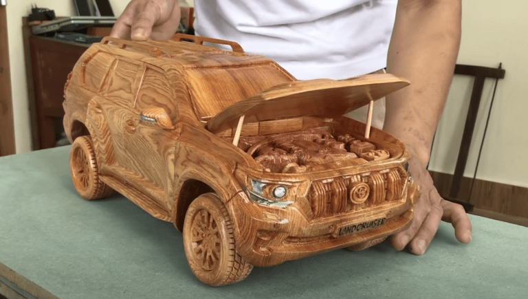 Most Satisfying Video – Making Of Wooden Car Scale Model Of Land Cruiser