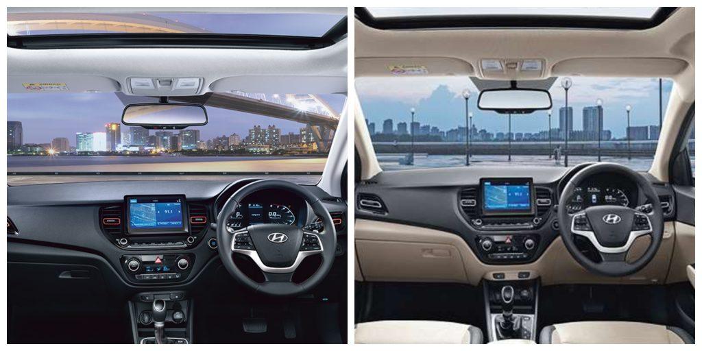 Hyundai Verna Turbo reçoit un traitement tout noir pour les intérieurs.