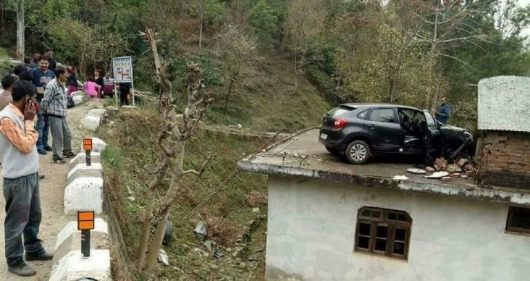 Maruti Baleno Flies Off To A House Roof In An Accident – What?