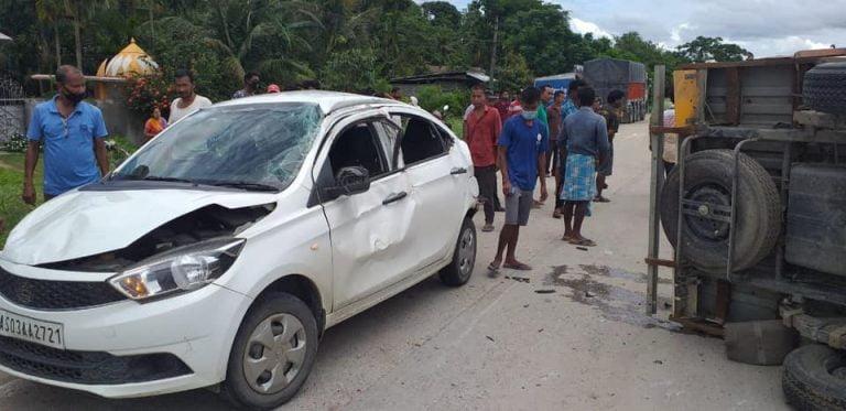 A Truck Crashes Into A Tata Tigor; All Occupants Escape Safely