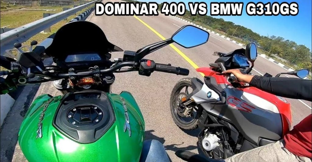 Here's an interesting drag race between a Bajaj Dominar 400 and a BMW G310 GS.