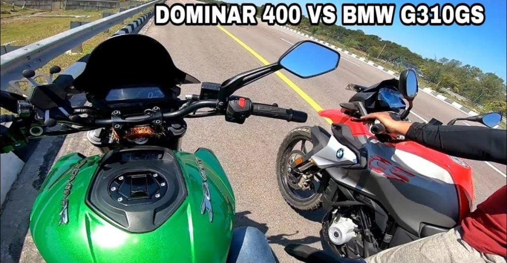 Voici une course de drag intéressante entre une Bajaj Dominar 400 et une BMW G310 GS.