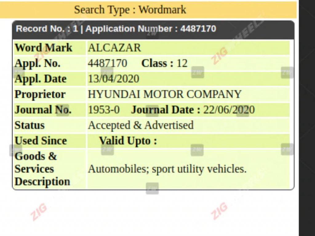 Hyundai a déposé un nouveau nom appelé l'Alcazar en Inde.