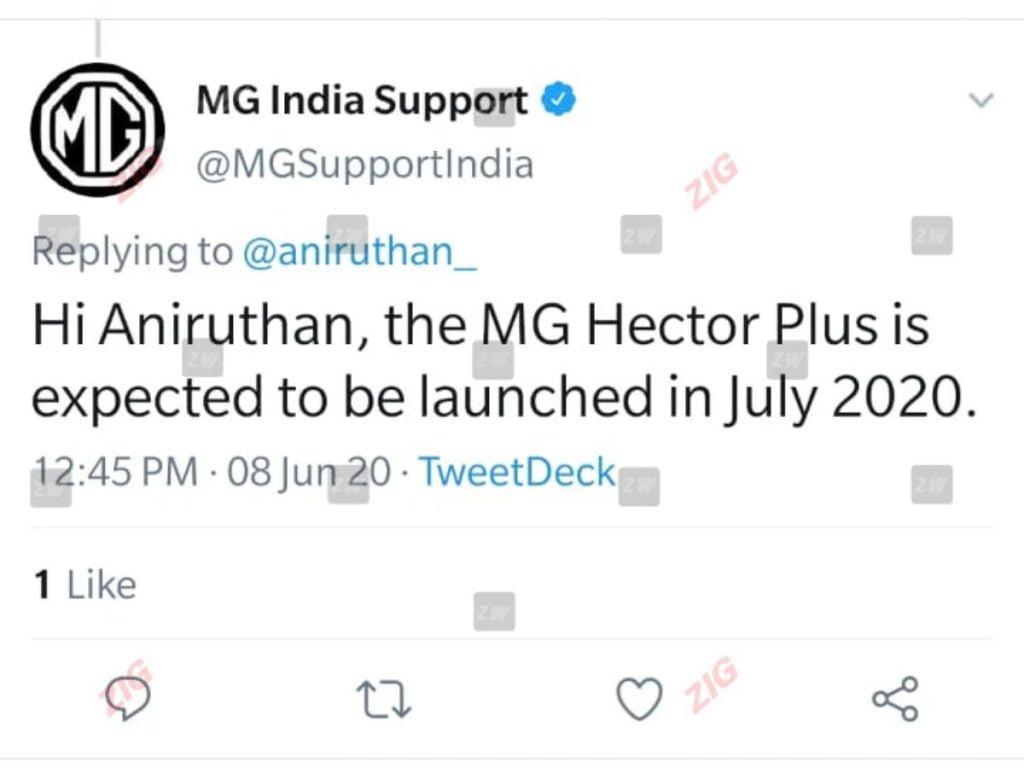 MG Motors a tweeté qu'ils prévoyaient de lancer le Hector Plus d'ici juillet 2020.
