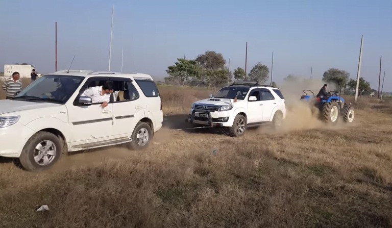 Tata Safari And Toyota Fortuner Cannot Pull A Tractor In A Tug Of War