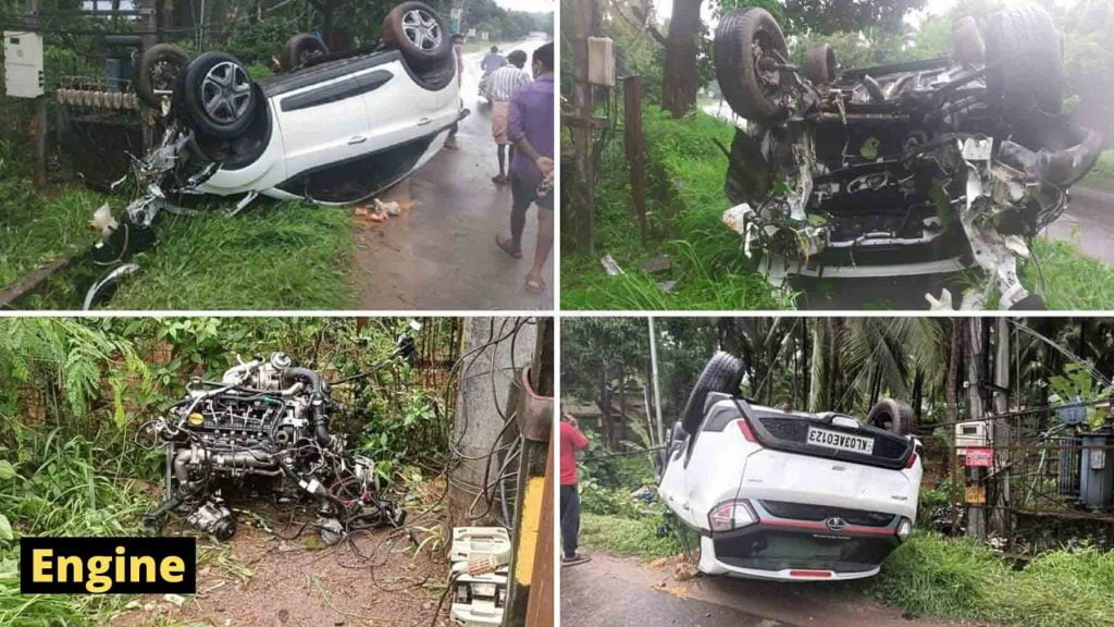 This Tata Nexon was involved in such a brutal accident that the engine flew out of the car.