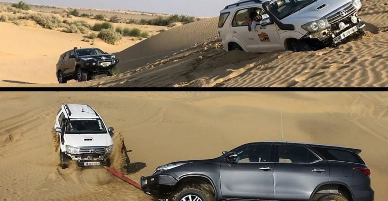 Watch a New and Old Toyota Fortuner Winch Each Other Out of Heavy Sand!