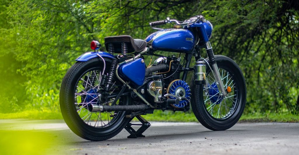 This is 1959 Royal Enfield Bullet that has been beautifully restored.