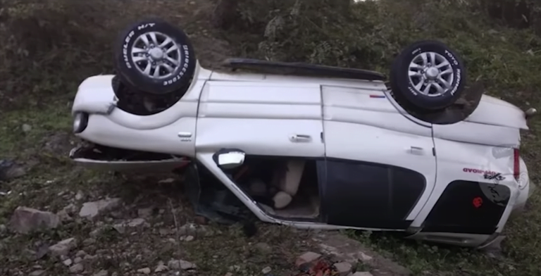 Tata Safari Loses Control And Falls 30 Feet In The Canal – See The Impact