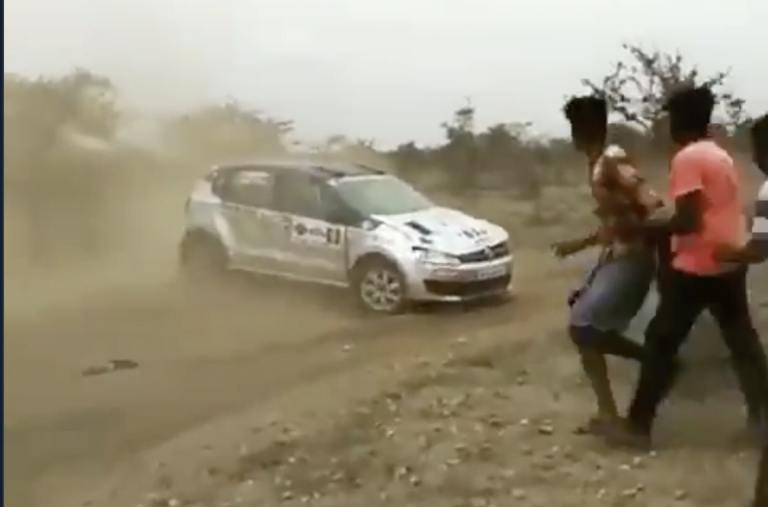 Volkswagen Polo Rolls Over During Dirt Racing; Still Continues The Race