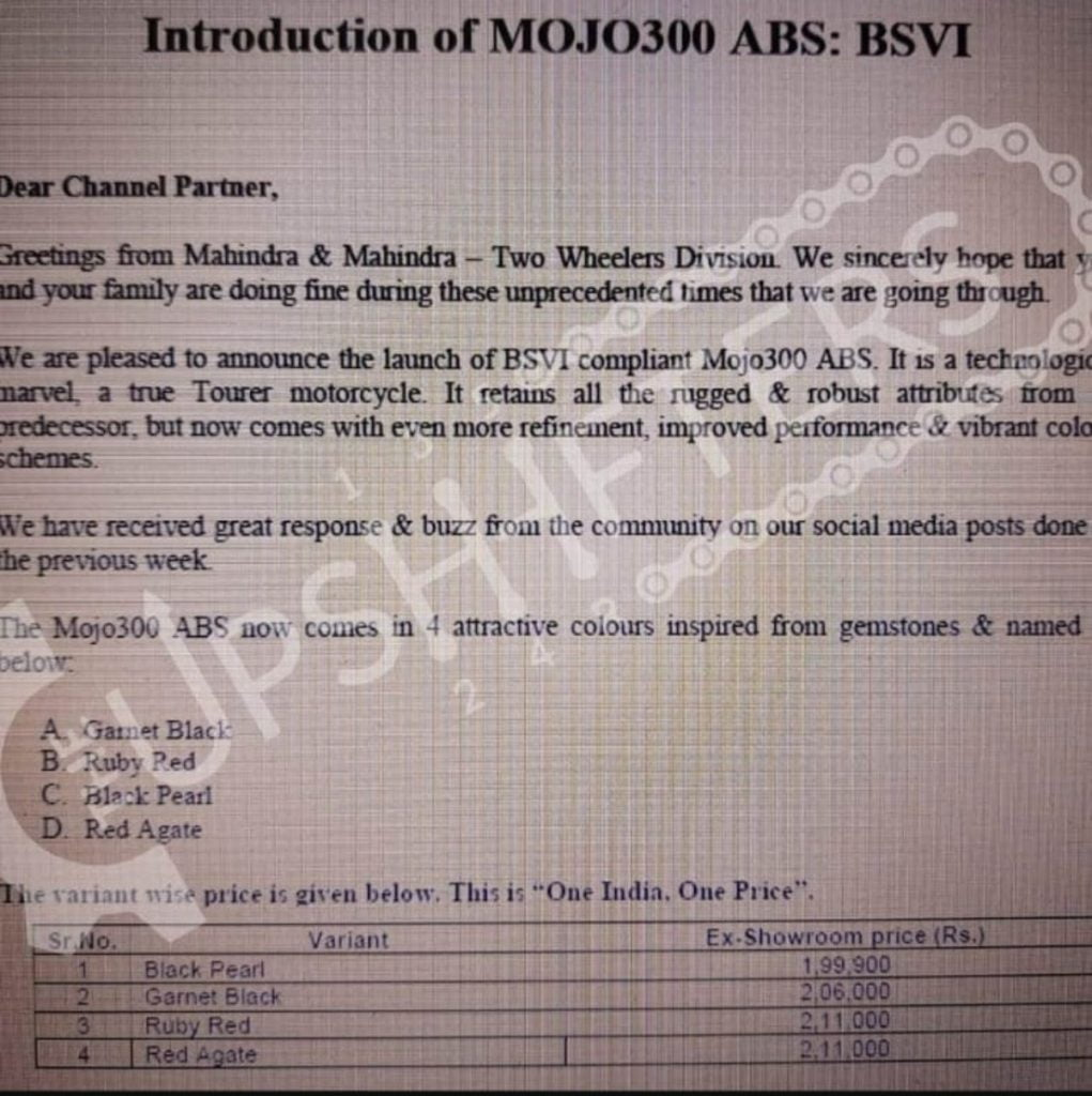 Here's the leaked document showing the price of the BS6 Mojo 300 ABS.