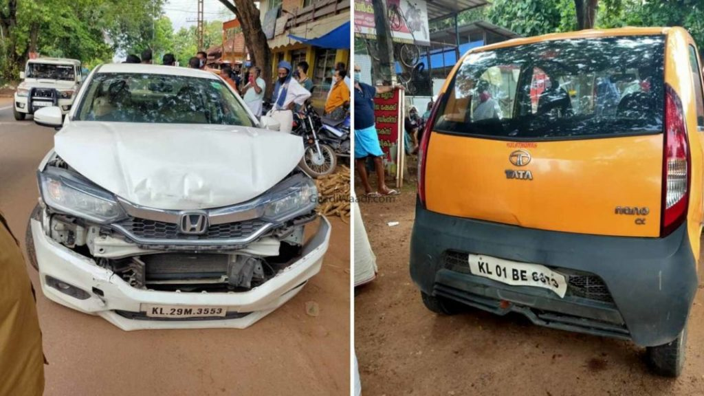 Honda City and Tata Nano involved in accident - damages on the cars are shocking.