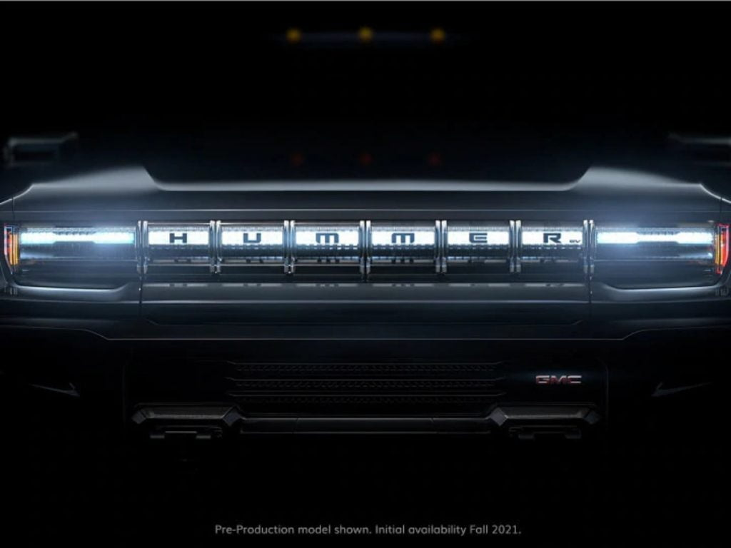 This is an earlier teaser of the Hummer EV, showing its front-end design.
