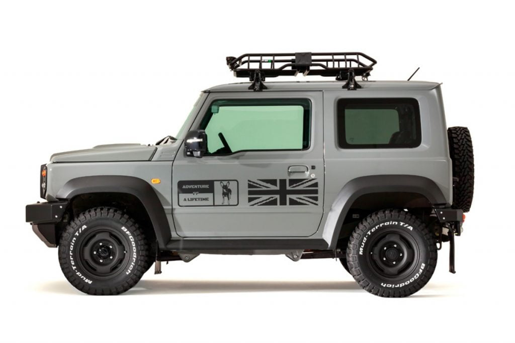 This is essentially a custom body kit for the Jimny that is called the 'Little:D' and it has been built by DAMD.