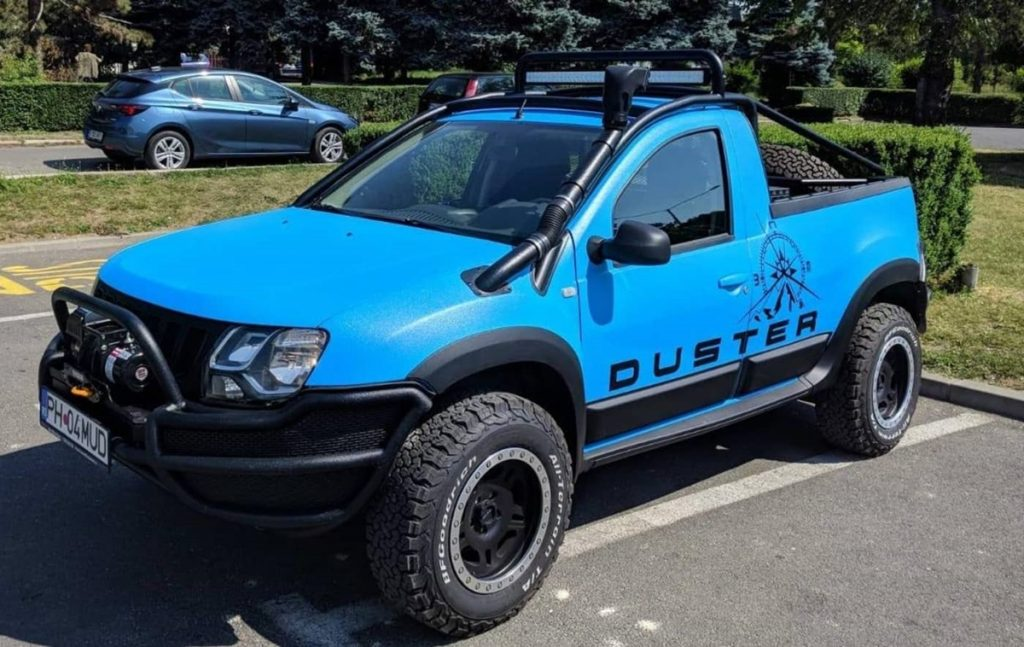 This is a Dacia Duster - or a Renault Duster - that has been modified into an offroad single-can pickup truck.