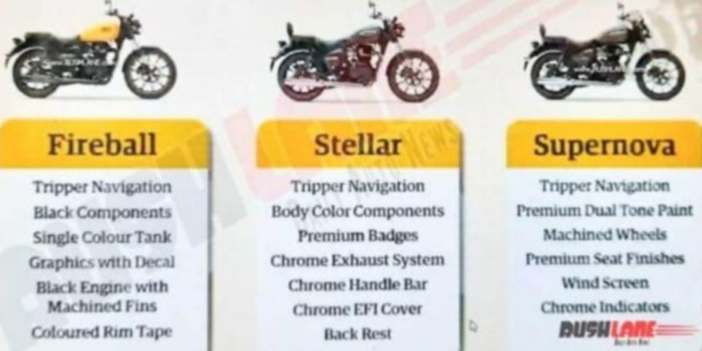 A leaked brochure reveals that the Royal Enfield Meteor 350 will be available in three variants.