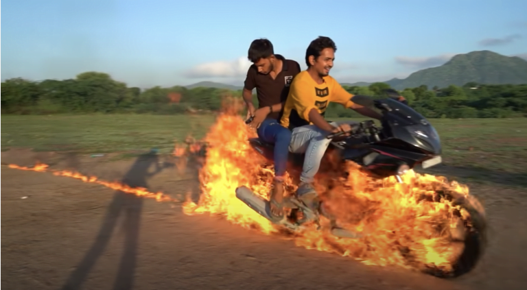 Indian Version Of Ghost Rider Tried On Bajaj Pulsar By Putting It On Fire – See How Dangerous It Is!