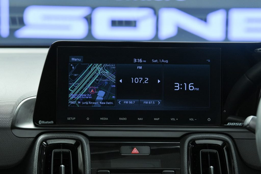 The 10.25-inch touchscreen is the largest in the segment and a direct lift from the Seltos.