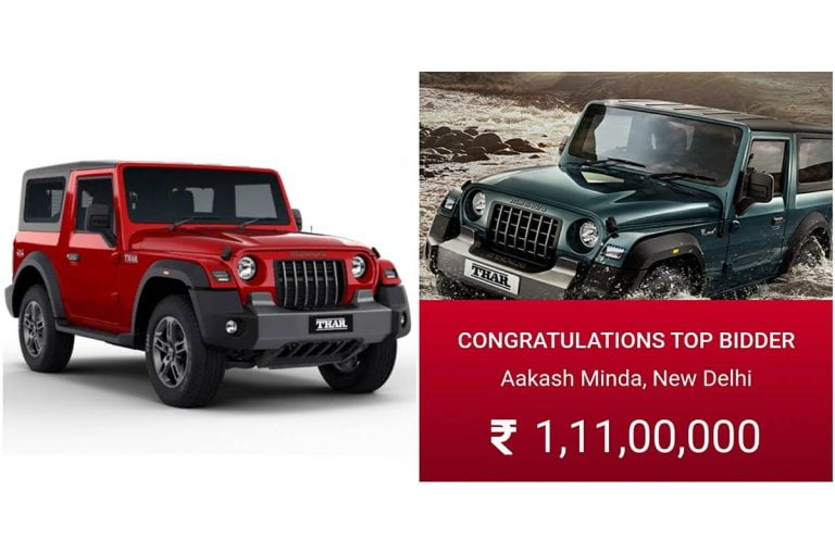 Mahindra Thar #1 Auctioned For a Price of Rs 1.11 Crore!