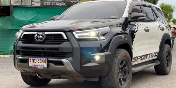 This Fortuner is wearing the body kit of the 'Invincible' variant of the Hilux.