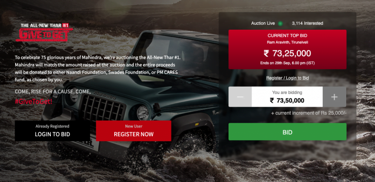 The Highest Bidder For New Mahindra Thar Goes Up To Rs 73.25 Lakhs!