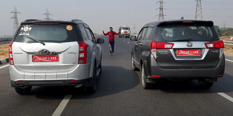 Toyota Innova Vs Mahindra XUV500 Drag Race – See Who Is The Winner