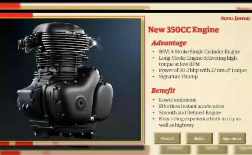 The Royal Enfield Meteor 350 will be powered by a BS6-compliant 350cc 4-stroke single cylinder engine that produces 20.1hp and 27Nm of torque.