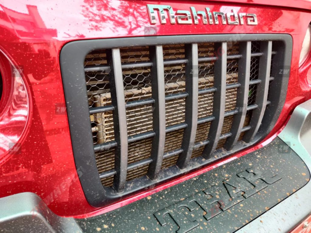 The production-spec Mahindra Thar has been spotted with a honeycomb mesh behind its slatted grille.