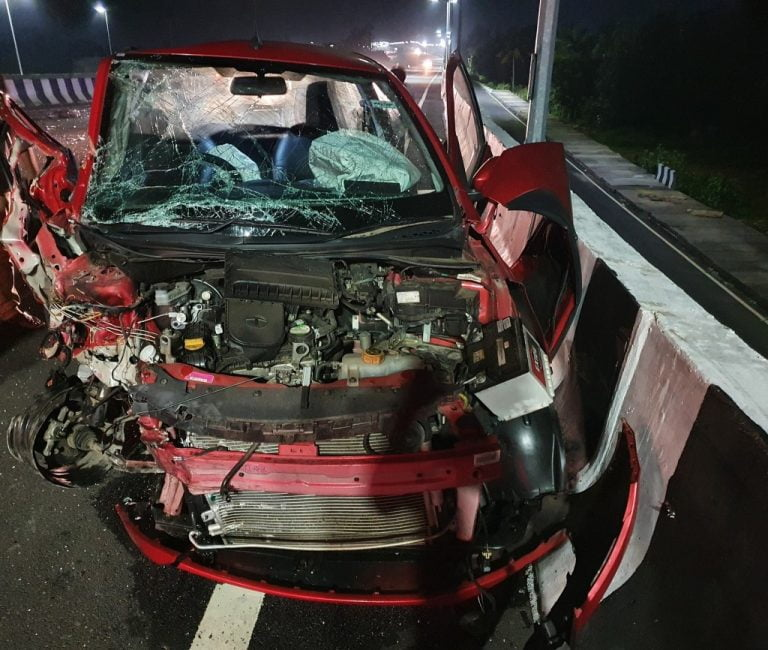 Tata Tiago Goes Through A Head On Collision With A Truck – See The Impact