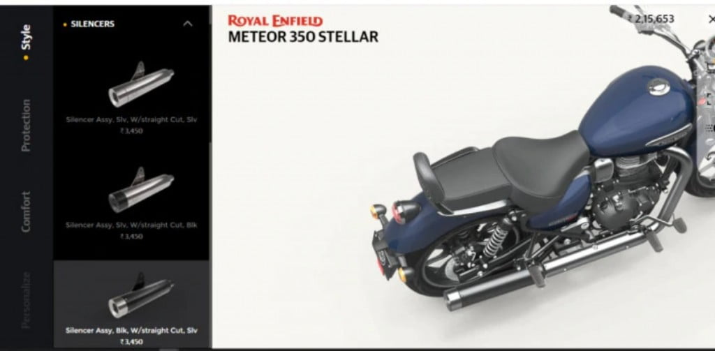 The custom exhausts will again be very popular on the accessories list of the Royal Enfield Meteor 350.