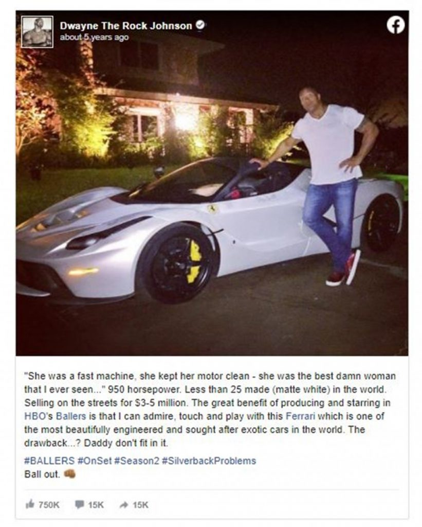 Back in 2015, when Dwayne was shooting for the HBO series Ballers, he had a similar problem of fitting inside a Ferrari LaFerrari.