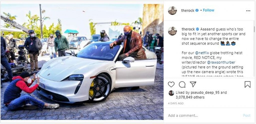 It turns out that Dwayne 'The Rock' Johnson, one of the highest-paid Hollywood action stars, can't fit into a Porsche Taycan.