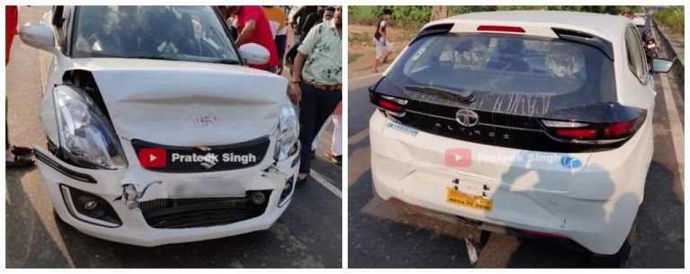Maruti Swift Crashes Into Tata Altroz From Behind – Only 1 Car Impacted!